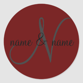 """""""N"""" monogram label, personalize first names Classic Round Sticker"""