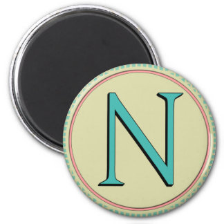 N MONOGRAM LETTER 2 INCH ROUND MAGNET