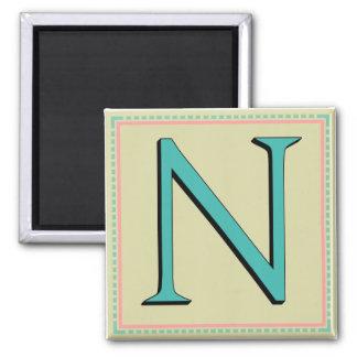 N MONOGRAM LETTER REFRIGERATOR MAGNETS