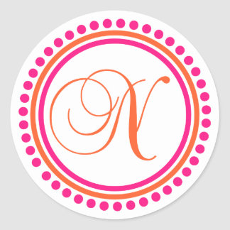 N Monogram (Pink / Orange Dot Circle) Classic Round Sticker