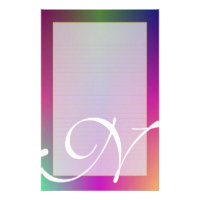 "N Monogram ""Purple Metallic"" Fine Lined Stationery"
