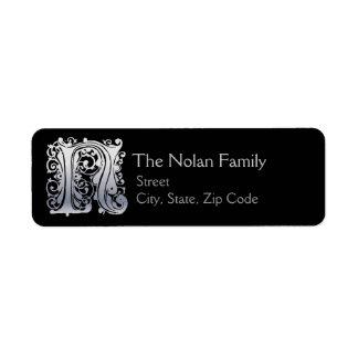 "N Monogram ""Silver Lace"" design Address Lables Label"