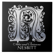 """N Monogram """"Silver Lace on Black"""" with Names Tile"""