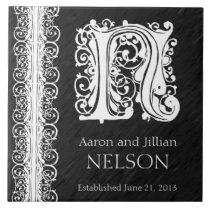 "N Monogram ""White Lace on Black"" Wedding  Tile"