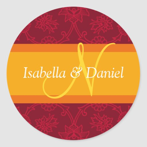 N Monograms For Wedding Invitation Seals Sticker