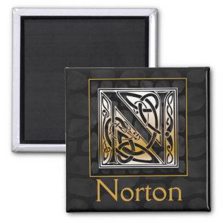 "N Name Monogram ""Celtic Black Stone"" Square Magnet"
