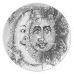 N negra Sun y diseño blancos de la luna Plato Para Fiesta