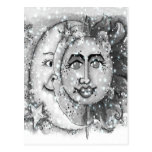 N negra Sun y diseño blancos de la luna Postales