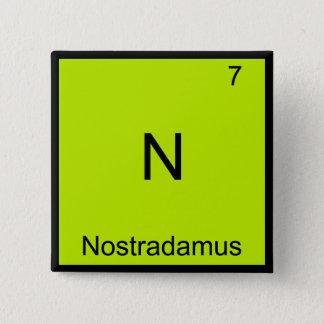 N - Nostradamus Funny Chemistry Element Symbol Tee Pinback Button
