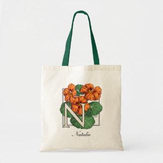 N para el monograma de la flor de la capuchina bolsas