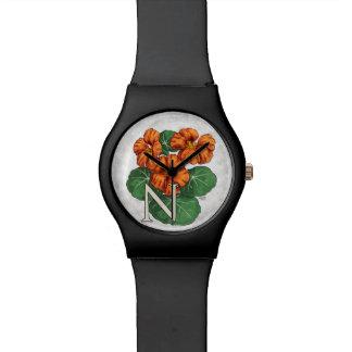 N para el monograma del alfabeto de la flor de reloj