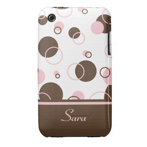 N rosada Brown puntea en casamata del iPhone iPhone 3 Case-Mate Cárcasas