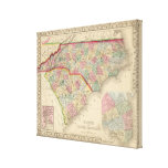 N & S Carolina Map by Mitchell Canvas Print