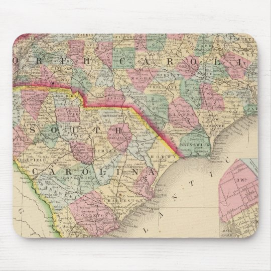 N & S Carolina Map by Mitchell Mouse Pad