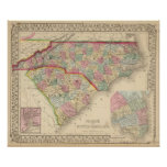N & S Carolina Map by Mitchell Posters