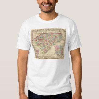 N & S Carolina Map by Mitchell Tee Shirt