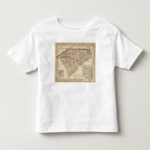 N & S Carolina Map by Mitchell Toddler T-shirt