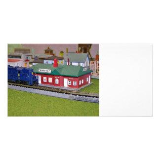 N Scale Model Train Village Photo Card