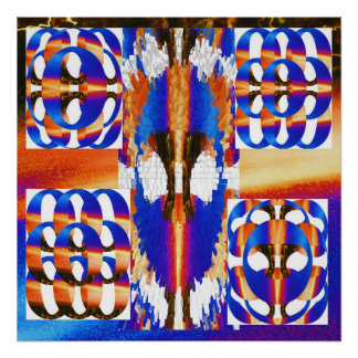 N Sq azul circunda modelos mágicos Póster