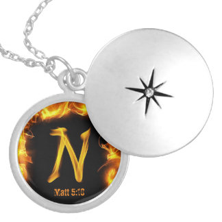 """""""N"""" Sterling Silver Plate Necklace"""