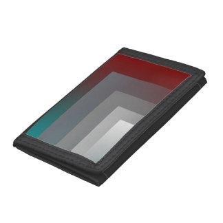 N - teal gray burgundy trifold wallet