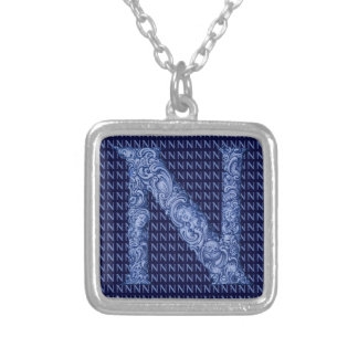 N - The Falck Alphabet (Blue) Silver Plated Necklace
