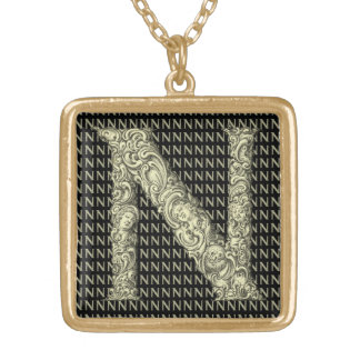 N  - The Falck Alphabet (Golden) Gold Plated Necklace