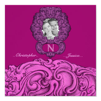 N - The Falck Alphabet (Pink) 5.25x5.25 Square Paper Invitation Card