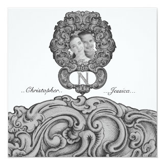 N  - The Falck Alphabet (Silvery) 5.25x5.25 Square Paper Invitation Card