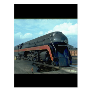 N&W 4-8-4 #611. (train;sky;clouds;track;)_Trains Postcard
