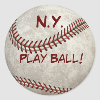 """N.Y. Béisbol """"bola del juego!"""" Más allá-tiempo Pegatina Redonda"""