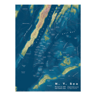 "N.Y. Mar, 100 ' mapa de la subida del mar, 18"" x24 Póster"