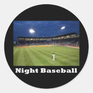 NA118.Night Baseball Classic Round Sticker