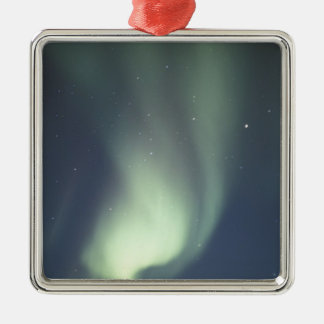 NA, Canada, Manitoba, Churchill Northern lights, Square Metal Christmas Ornament