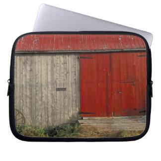 NA, Canada, New Brunswick, Shepody. Red barn Computer Sleeve