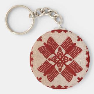 Na Kalaunu Me Na Kāhili, quilt Basic Round Button Keychain
