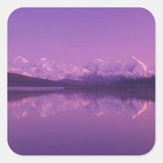 NA, los E.E.U.U., Alaska, Denali NP, lago wonder, Pegatina Cuadrada