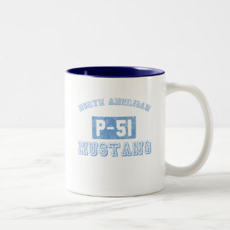NA p-51 Mustang - BLUE Two-Tone Coffee Mug