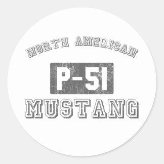 NA P-51 Mustang Classic Round Sticker