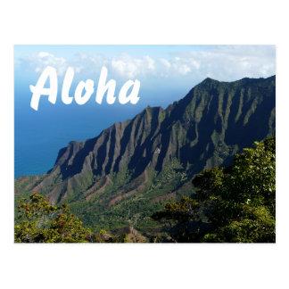 Na Pali Coast, Hawaii Aloha text postcard