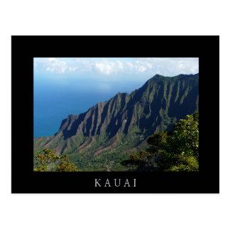 Na Pali Coast on Kauai black text postcard