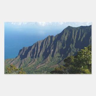 Na Pali Coast on Kauai rectangular sticker