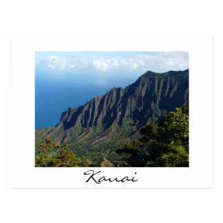 Na Pali Coast on Kauai white text postcard