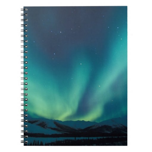 NA, USA, Alaska, Brooks Range, Curtains of green Spiral Note Book