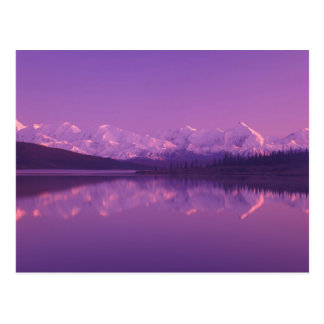 NA, USA, Alaska, Denali NP, Wonder Lake, Evening Postcard