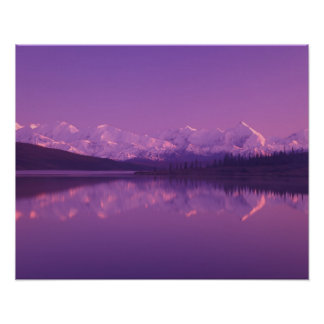 NA, USA, Alaska, Denali NP, Wonder Lake, Evening Poster
