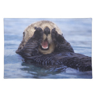NA, USA, Alaska. Sea otters are the largest Cloth Place Mat
