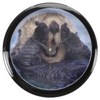 NA, USA, Alaska. Sea otters are the largest Fish Tank Clock