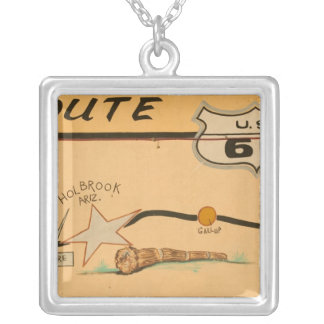 NA, USA, Arizona, Holbrook Route 66 road mural Silver Plated Necklace