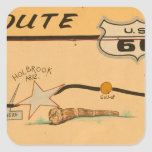 NA, USA, Arizona, Holbrook Route 66 road mural Square Sticker